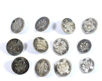 Vintage 12 Metal Buttons, Buttons, Antique Buttons, Vintage Metal Buttons, German Buttons, 1971s