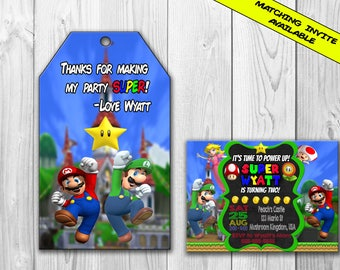 Super Mario Birthday Party Favor Tags, Super Mario Favor Tags, Mario Favor Tag, Mario Birthday, Mario Thank You