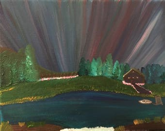 8x10 stretched canvas Cottage by the lake/northern lights