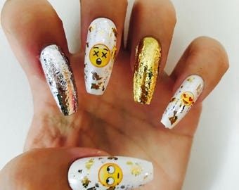 Emoji gold/silver foil acrylic nails