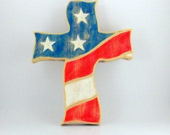 Patriotic American Flag carved wood cross