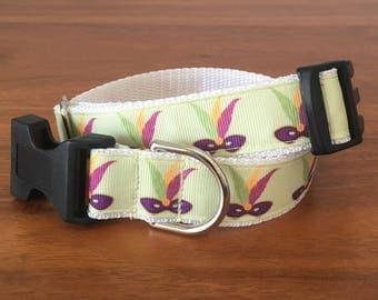 Mardi Gras feather mask dog collar- size medium