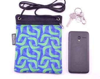 Cross body zip bag. Green boomerangs on blue.  cell phone pouch