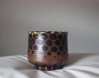 dotty amber celadon cup