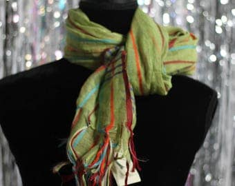 "90's Coldwater Creek Multi Color Scarf w/ Fringes (22"" X 62"")"