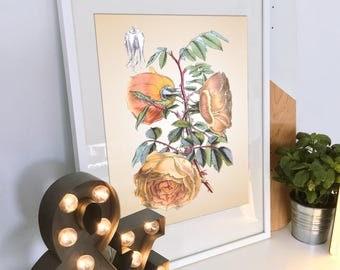 Vintage yellow roses print. Yellow flowers vintage rose printable. Vintage Flower Print. Vintage Botanical Print. Floral print