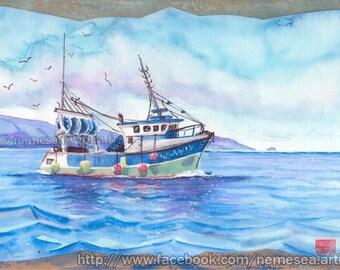 Sea Cliff birds Watercolor Seascape PG125 fishing boat print
