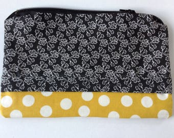 makeup bag personalized toiletry pouch custom cosmetic bag sunglasses pouch  - yellow, black & white print zippered pouch