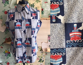 Vintage Novelty Print 1960s 1970s Sleeveless KMart Button Down. Large. Ships, red, blue, nautical, kitschy, permanent press, top.