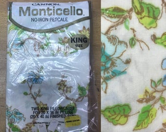 Vintage 1970s Deadstock Floral Monticello Cannon No Iron Percale Set of 2 King Pillowcases. Floral, blue, green, yellow.