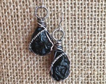 Tektite Earrings Sterling Silver Meteorite Earrings Meteorite Jewelry Tektite Jewelry Boho Black Stone Earrings Bohemian Reiki Chakra Wiccan