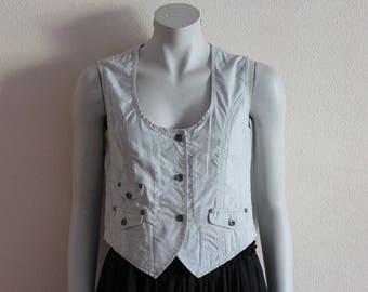 Women's Vests Grey Vest Gray Women Vest Cotton Vest Women Waistcoat Romantic Classic Steampunk Gray Fitted Waistcoat Medium Size
