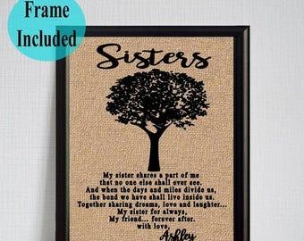 ON SALE Gift for Sister Personalized Gift for Sister Framed Burlap Print for Sister Christmas Gift Handmade Gift for Sister Custom Gift for