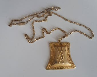 Vintage YSL Yves Saint Laurent Necklace   YSL goldtone pendant