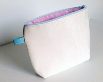 clutch purse glittery white and turquoise