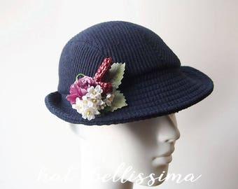 SALE dark blue 1930's  Hat Vintage Style hat winter Hats hatbellissima ladies hats  millinery wool hats Hats with a Brooch