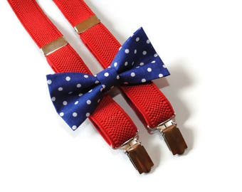polka dot bow tie & red suspenders navy boys bow tie/for boys/suspenders newborn bow tie toddler bow tie father and son matching/baby boy