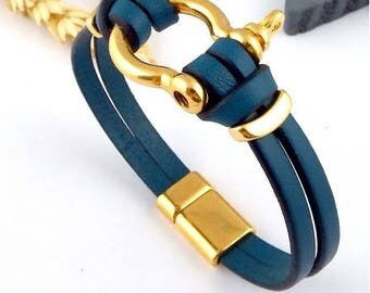 Leather shackle bracelet gold