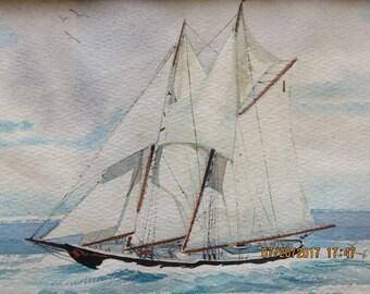 Maritime Watercolor Sailing Ship Schooner Bluenose Artist Tela Purcell Lunenburg Nova Scotia