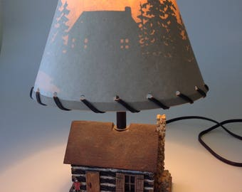 Rustic Log Cabin Lamp | Ceramic log cabin lamp, Silhouette Cabin scene, Custom Shade, Vintage Cabin Lamp, Gift for Dad, Father's Day gift