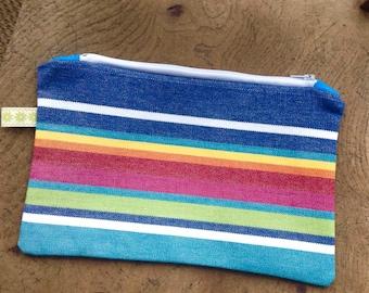 Stripy canvas cosmetic bag