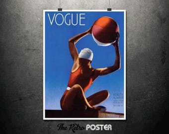 Vogue Beauty Number - July 1932 - Fashion, Vogue Print, Fashion Print, Gift Woman, Vogue Magazine, Fashion Poster, Beach Print, Travel