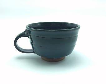 Soup mug, cappucino mug, pottery soup mug, ceramic soup mug, green soup mug, stoneware soup mug, wheelthrown soup mug, handmade soup mug