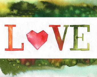 Love Sign Quote Watercolor Wall Art Nursery Wedding Home Decor Gift Painting Artwork Printable Wall Art Digital Poster Love Sign Prints
