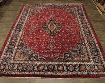 S Antique Handmade Signed Mashad Kashmar Persian Rug Oriental Area Carpet 10X13