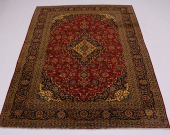 Nice Handmade S Antique Gold-Washed Kashan Persian Rug Oriental Area Carpet 9X12