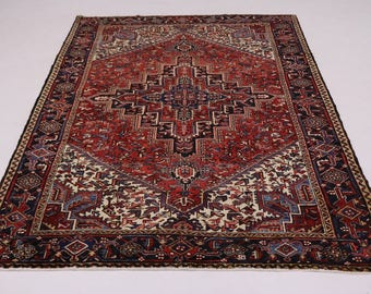 Beautiful Geometric Design Handmade Heriz Persian Rug Oriental Area Carpet 8X11