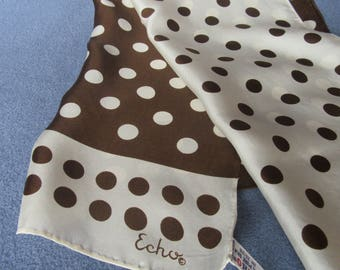 Echo Silk Scarf in Brown and White with Polka Dots, Echo Vintage Silk Scarf Rectangular with Alternating Polka Dots Made in Japan, ca. 1970s