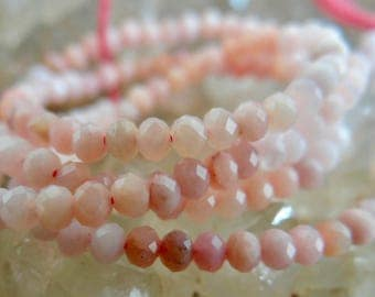 Shaded Pink Peruvian Opal | Micro Faceted Rondelles ~3mm | Sold in Sets of 20