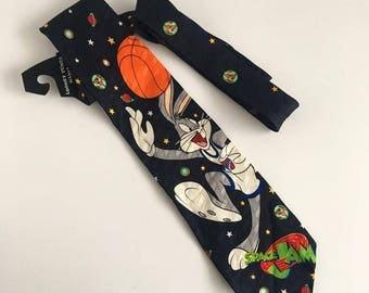 Vintage Space Jam Necktie // Retro Looney Tunes // 90's Mens Tie // Fun Ties // Bugs Bunny // Upcycled Clothing
