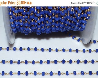 50% OFF Beautiful Royal Blue Chalcedony Rosary Beaded Chain-Chalcedony(Jade) Faceted Wire Wrapped Beaded Chain , 4 mm - RB5113