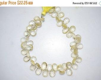 50% OFF Natural Lemon Quartz Pear Shape Faceted Beads -Lemon Quartz Pear Shape Briolette , 8x6-11x7 mm ,  BL670