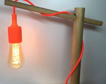 Oak Wooden Dowel Desk Lamp / Table Lamp /E27 fitting