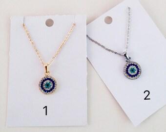 Evil eye necklace, zirconia evil eye necklace, rose gold evil eye jewelry, gold chain evil eye necklace, evil eye charm necklace, nazar