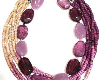 ON SALE Lot of two redesigned vintage purple necklaces