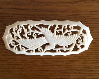 Vintage Carved Celluloid Brooch- Large Celluloid Bird Brooch- Celluloid Pin