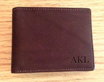Mens wallet, Father's day gift,  leather wallet, monogrammed gift for dad, monogrammed gift for him, mens wallet,clear id back,  toffee 7746