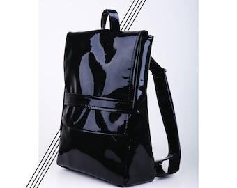 Shiny black backpack, vegan leather backpack, faux leather backpack