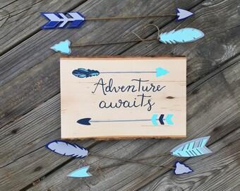 Custom Adventure Awaits Sign, Woodland Decor, Woodland Nursery Decor, Arrow Sign, Adventure Awaits Nursery Sign, Woodland Baby Shower