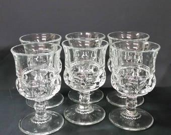 Vintage Kings Crown pedestal goblets.  Set of 6.