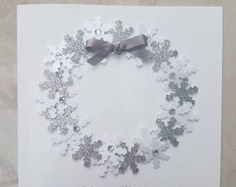 Christmas Card - Handmade Christmas Wreath Card - Personalised Option - Wreath - Ribbon - Snowflakes - 3D Christmas Wreath Design