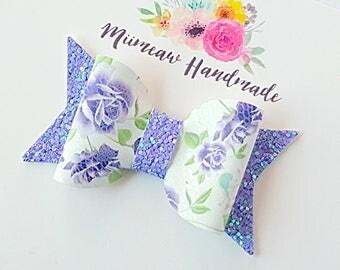 Purple Floral Faux Leather Hair Bow, Nylon headband, Hair clip,  You Choose Headband or Clip