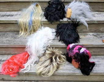 Halloween Supply of Wigs Halloween Dress Up Theater Props Skit Supply Play Dress Up  Box Lot of Eight Supplies for Halloween Free Shipping
