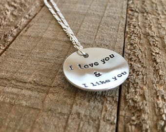 Parks and Rec necklace-I love you and I like you necklace-Parks and Recreation jewelry-gift