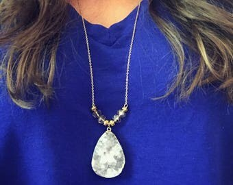 Geode pedant chain necklace