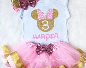 Minnie Mouse Birthday Outfit, 3rd Birthday Shirt, Pink Gold Minnie Third Birthday, Minnie 3 Birthday, Personalized Minnie Birthday